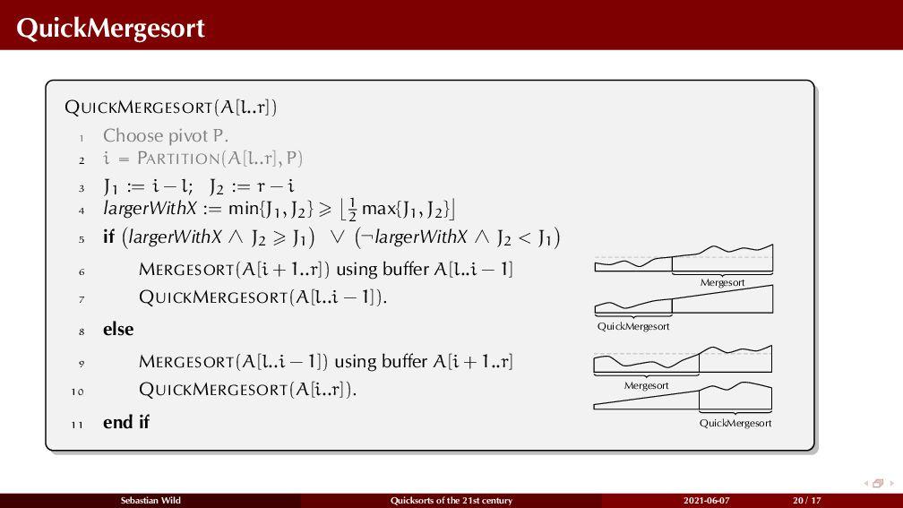 QuickMergesort QUICKMERGESORT(A[l..r]) 1 Choose...