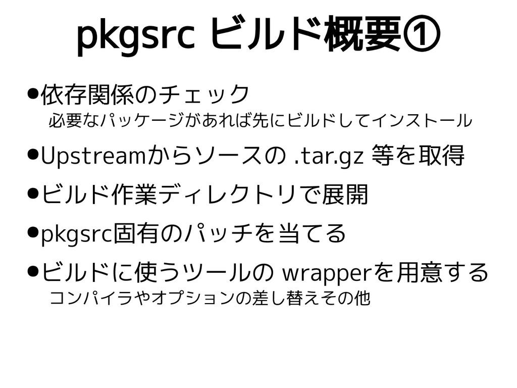 pkgsrc ビルド概要① ●依存関係のチェック 必要なパッケージがあれば先にビルドしてインス...
