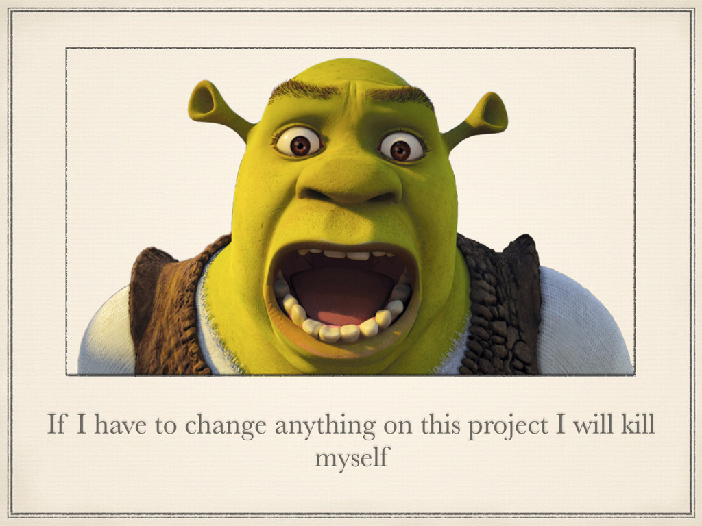 If I have to change anything on this project I ...