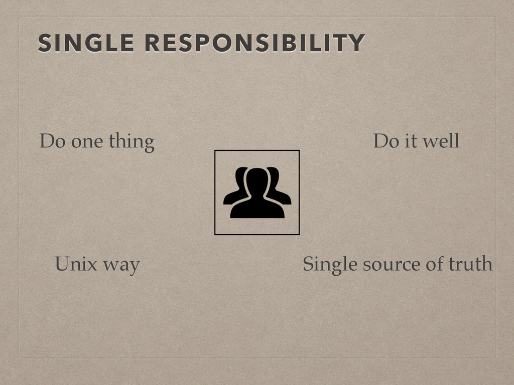 SINGLE RESPONSIBILITY Do one thing Do it well S...