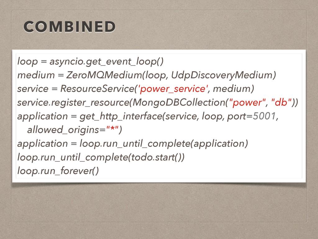 COMBINED loop = asyncio.get_event_loop() medium...