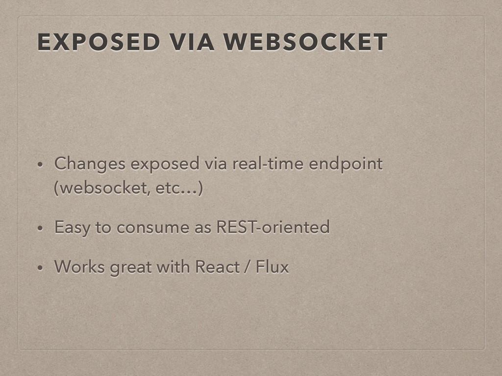 EXPOSED VIA WEBSOCKET • Changes exposed via rea...