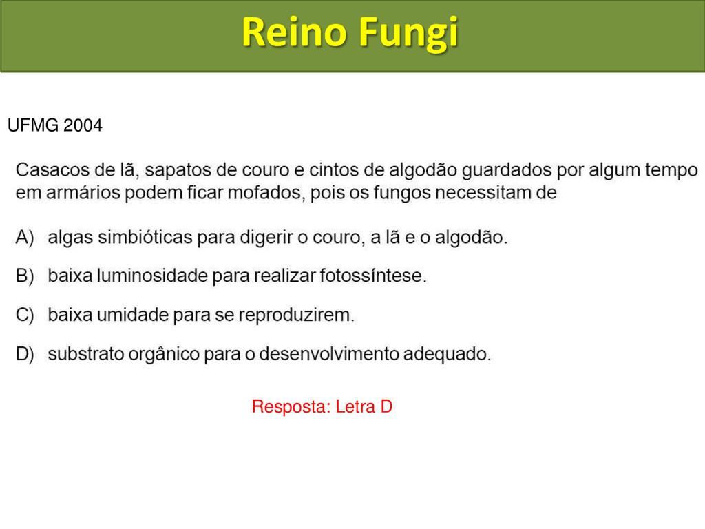 Reino Fungi UFMG 2004 Resposta: Letra D