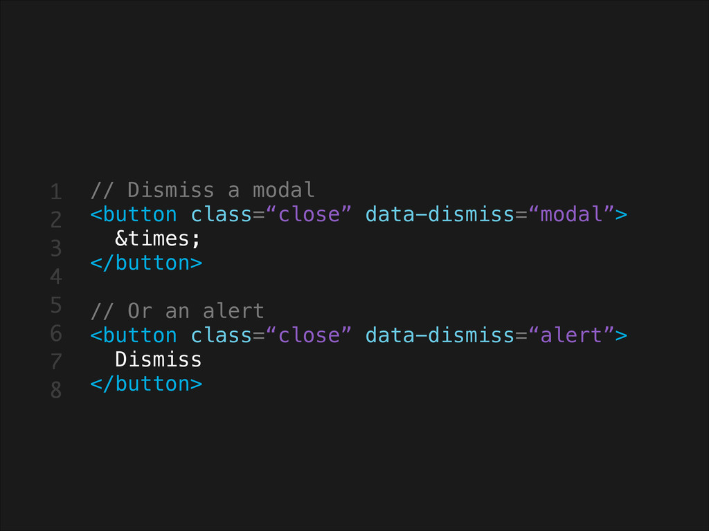 """// Dismiss a modal <button class=""""close"""" data-d..."""