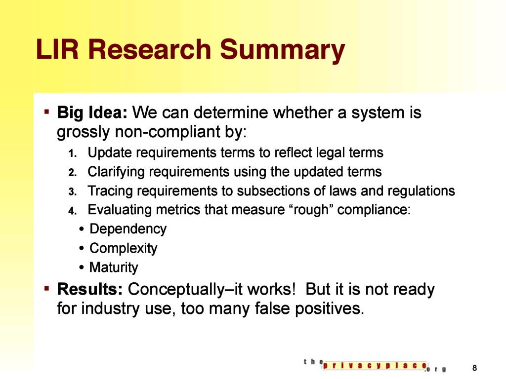 LIR Research Summary § Big Idea: We can determi...