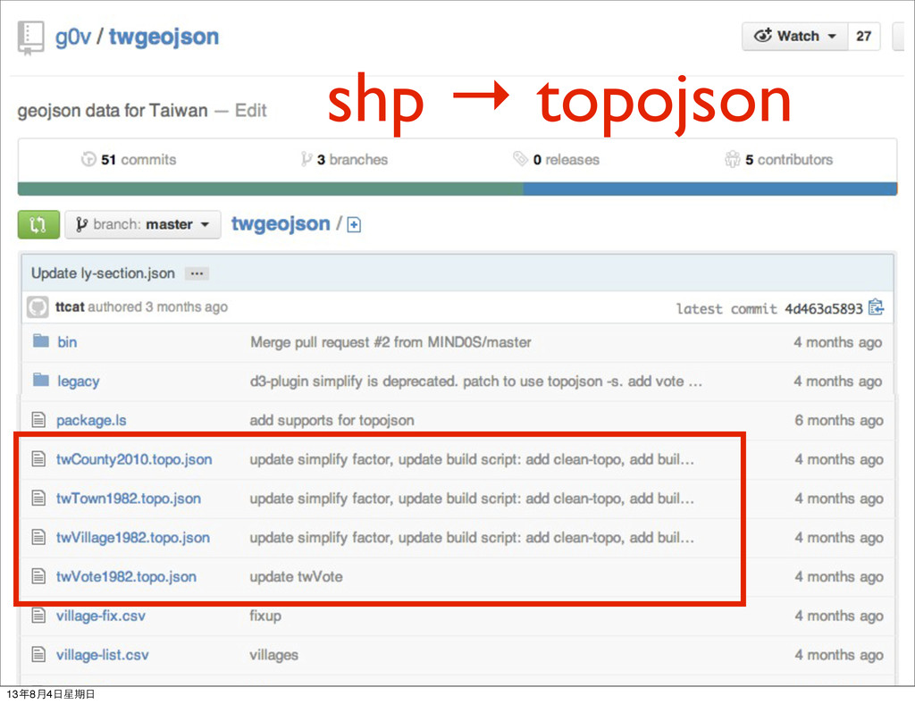 shp → topojson 13年8月4日星期日