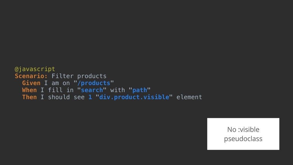 @javascript Scenario: Filter products Given I a...