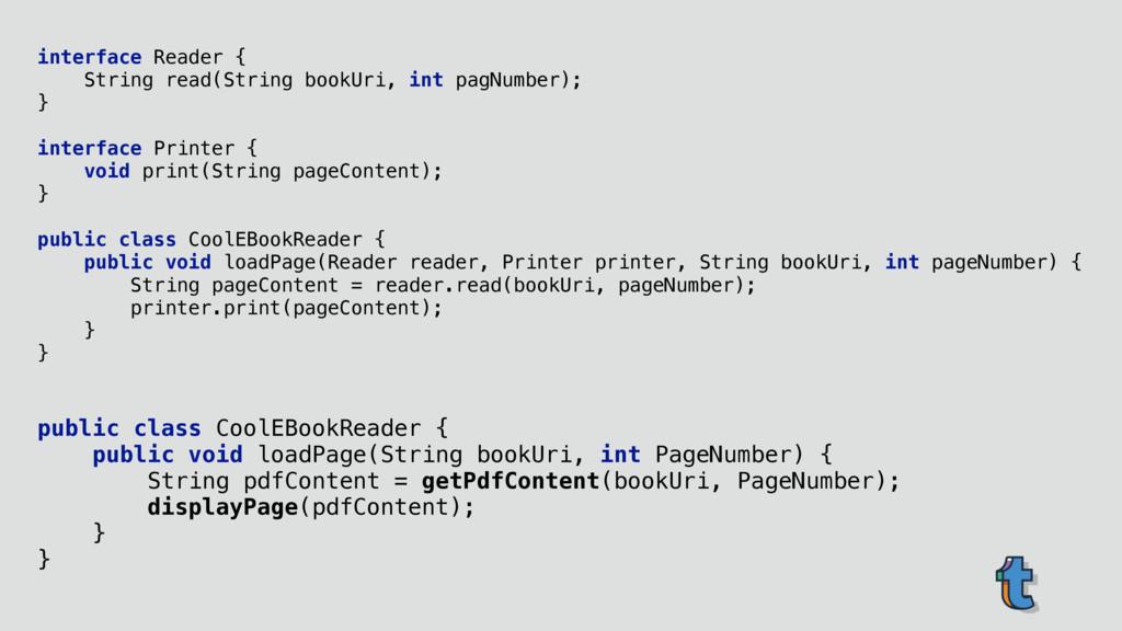 interface Reader { String read(String bookUri,...