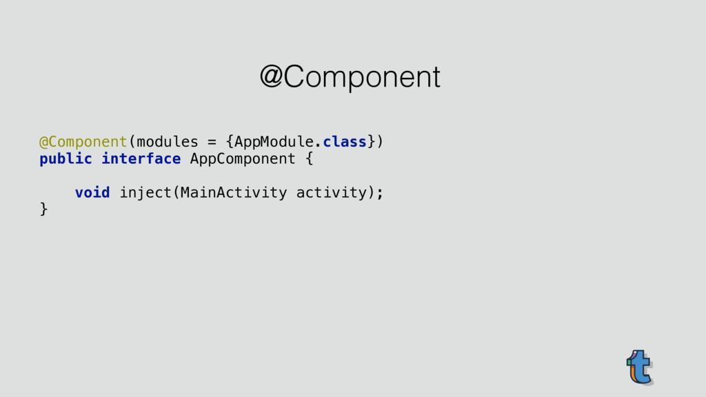 @Component(modules = {AppModule.class}) public...