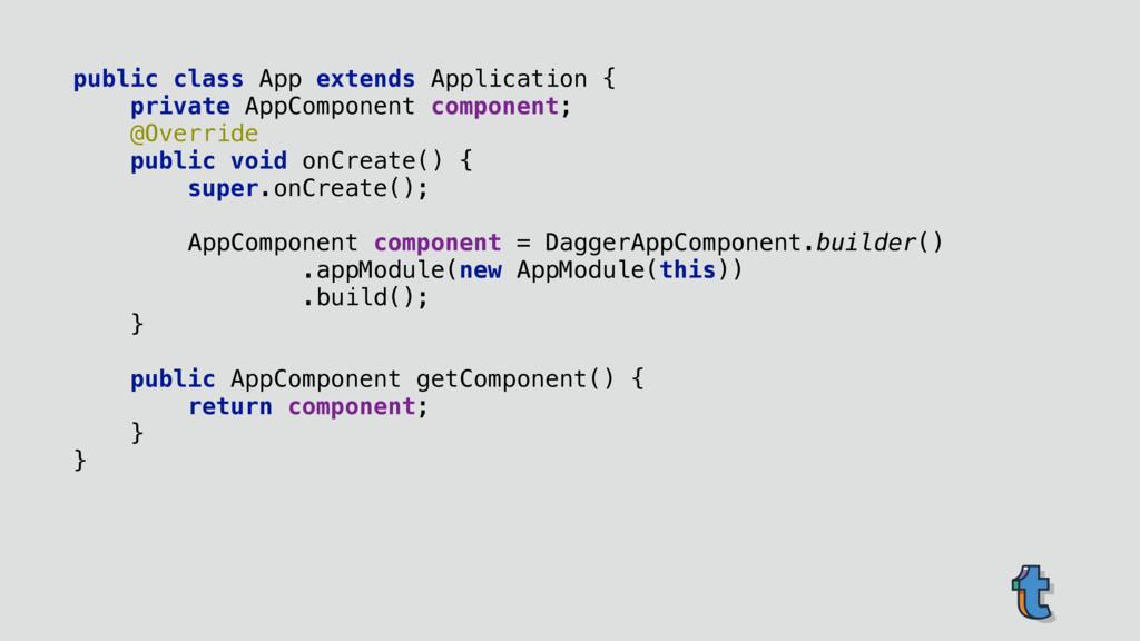 public class App extends Application { private...