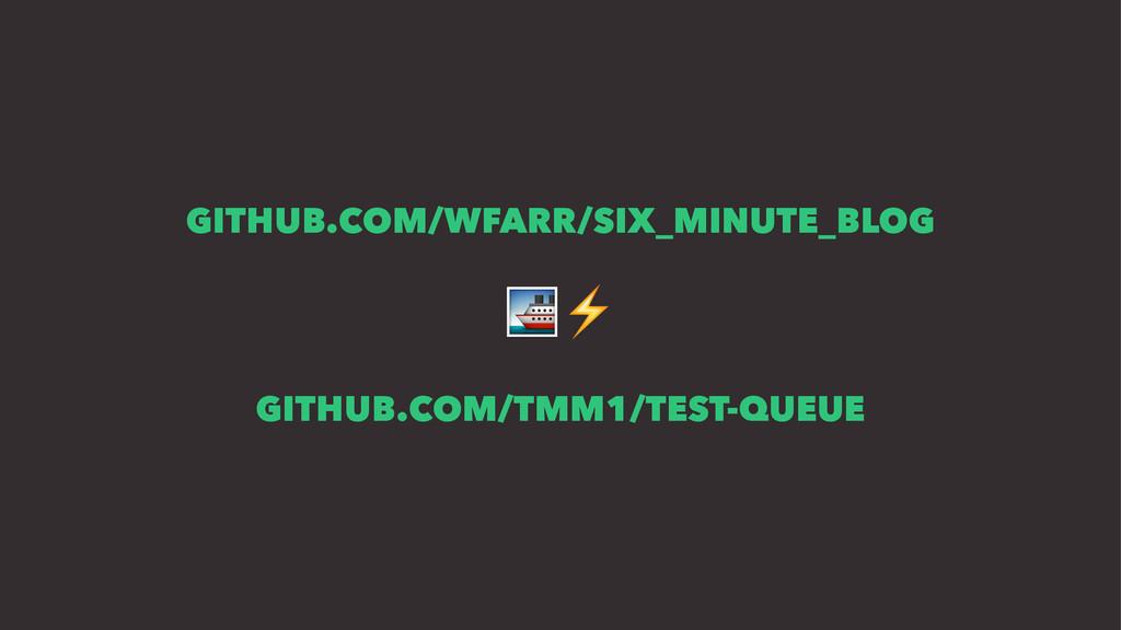 GITHUB.COM/WFARR/SIX_MINUTE_BLOG !⚡ GITHUB.COM/...