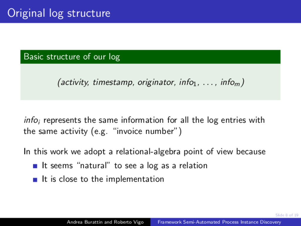 Slide 8 of 19 Original log structure Basic stru...
