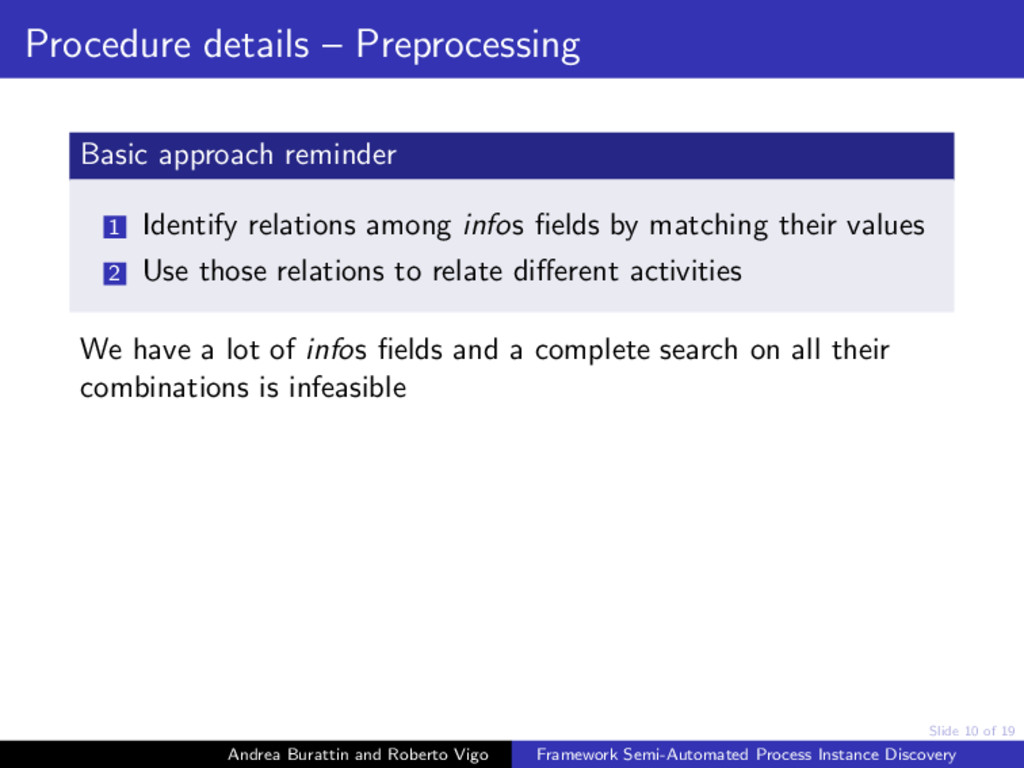 Slide 10 of 19 Procedure details – Preprocessin...