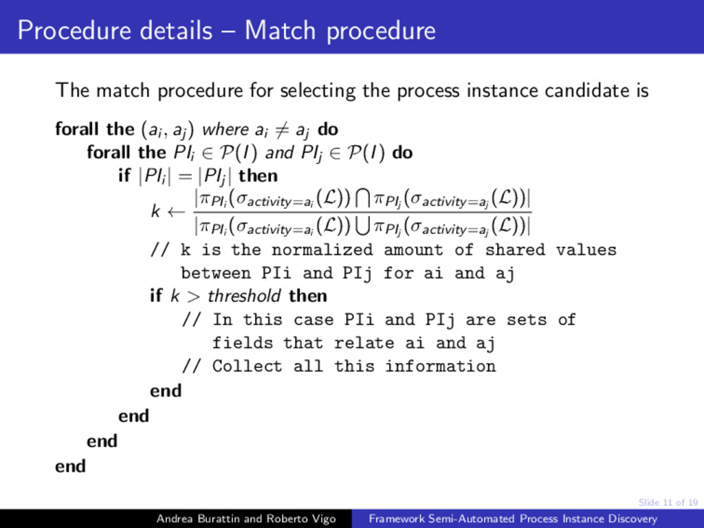 Slide 11 of 19 Procedure details – Match proced...