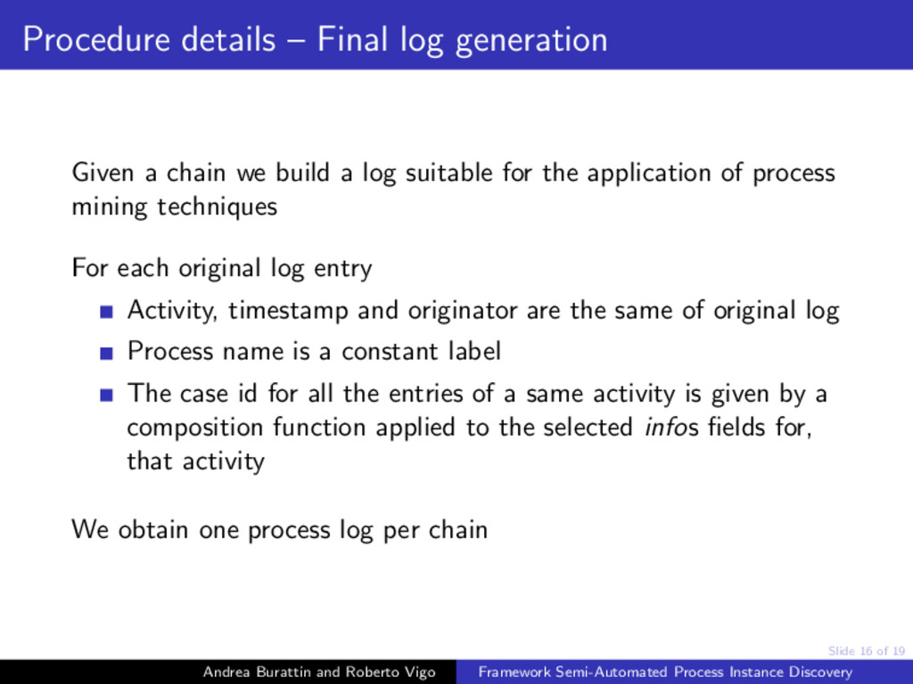 Slide 16 of 19 Procedure details – Final log ge...