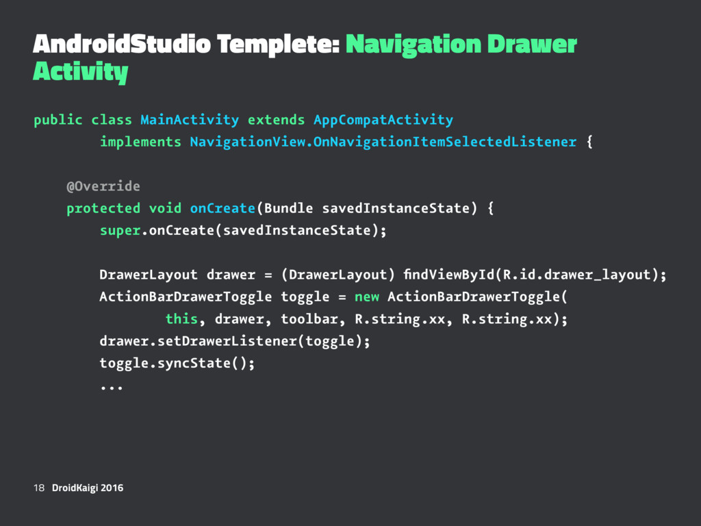 AndroidStudio Templete: Navigation Drawer Activ...