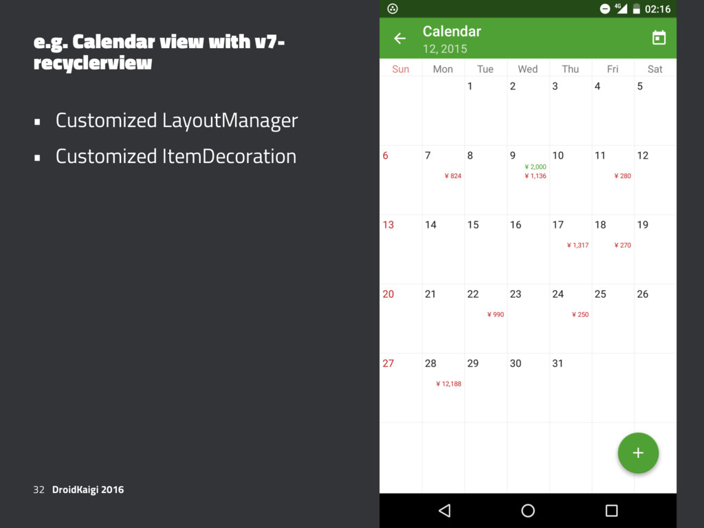 e.g. Calendar view with v7- recyclerview • Cust...