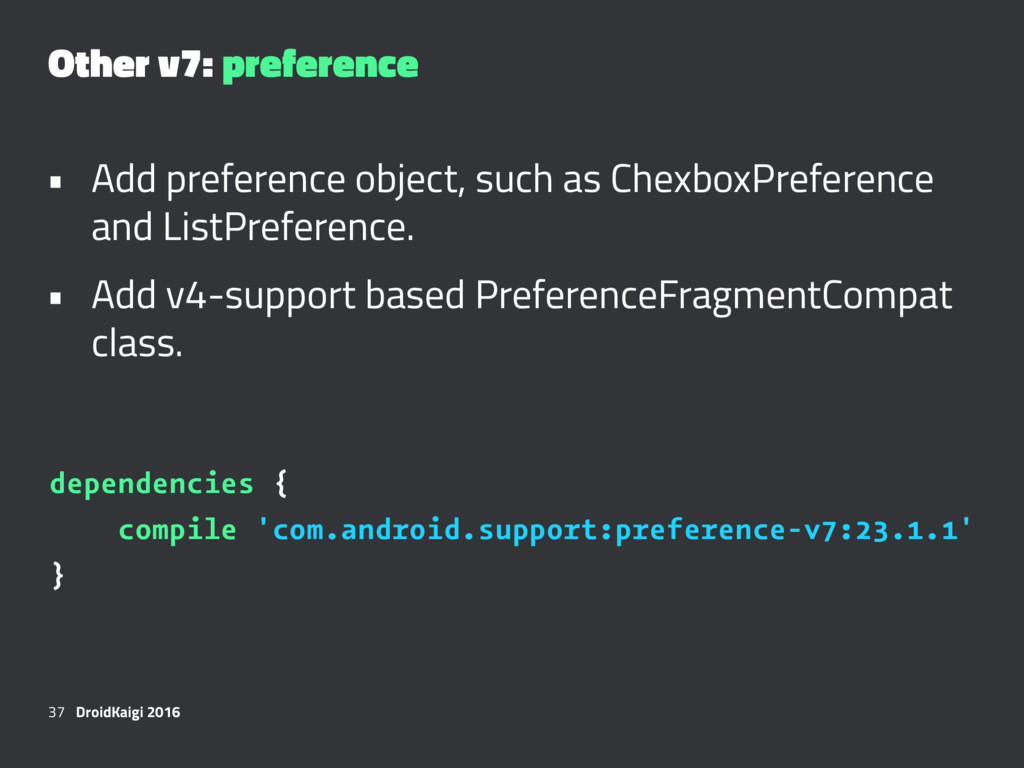 Other v7: preference • Add preference object, s...