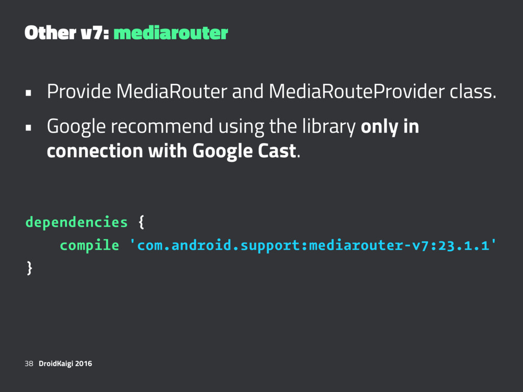 Other v7: mediarouter • Provide MediaRouter and...