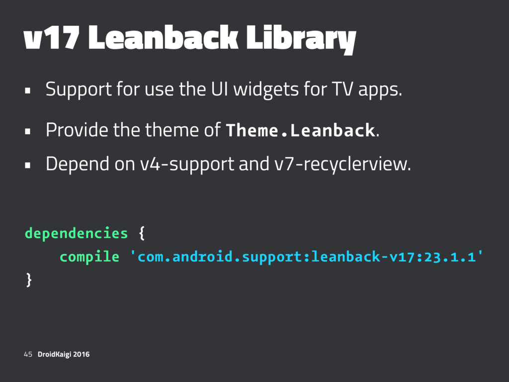 v17 Leanback Library • Support for use the UI w...