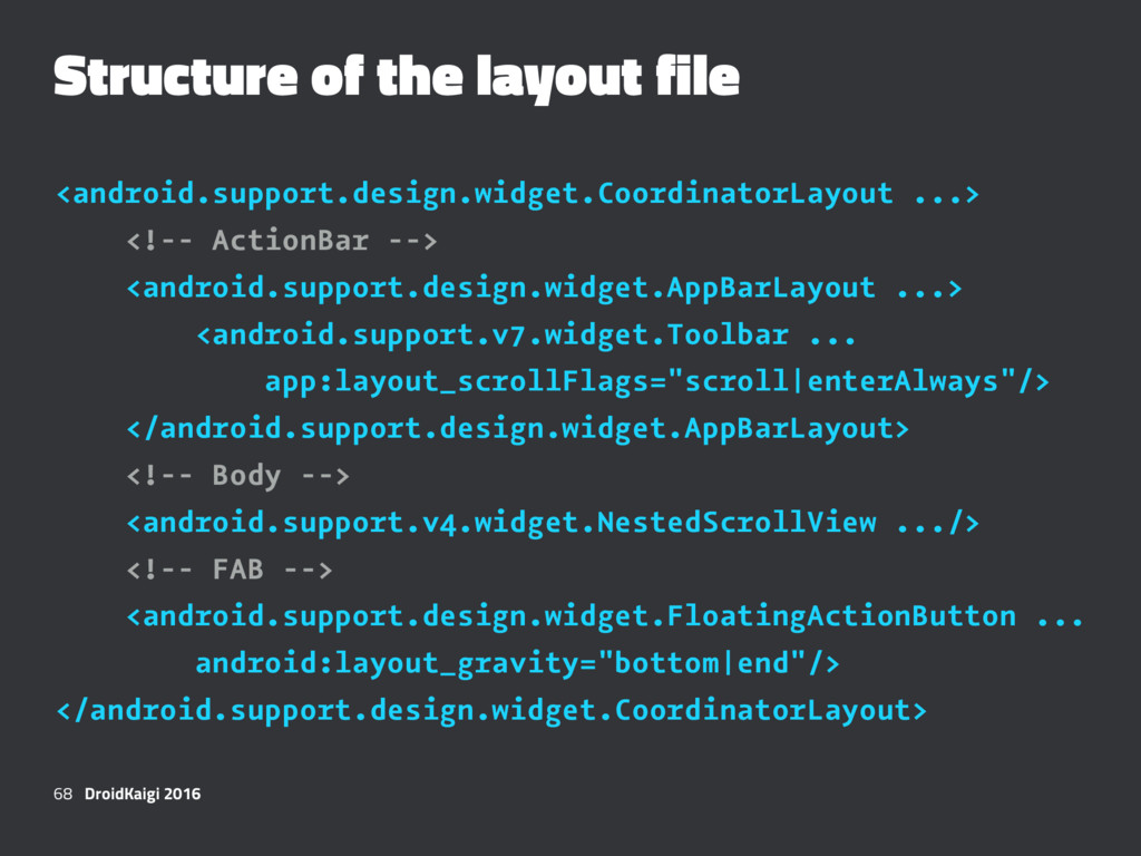 Structure of the layout file <android.support.d...