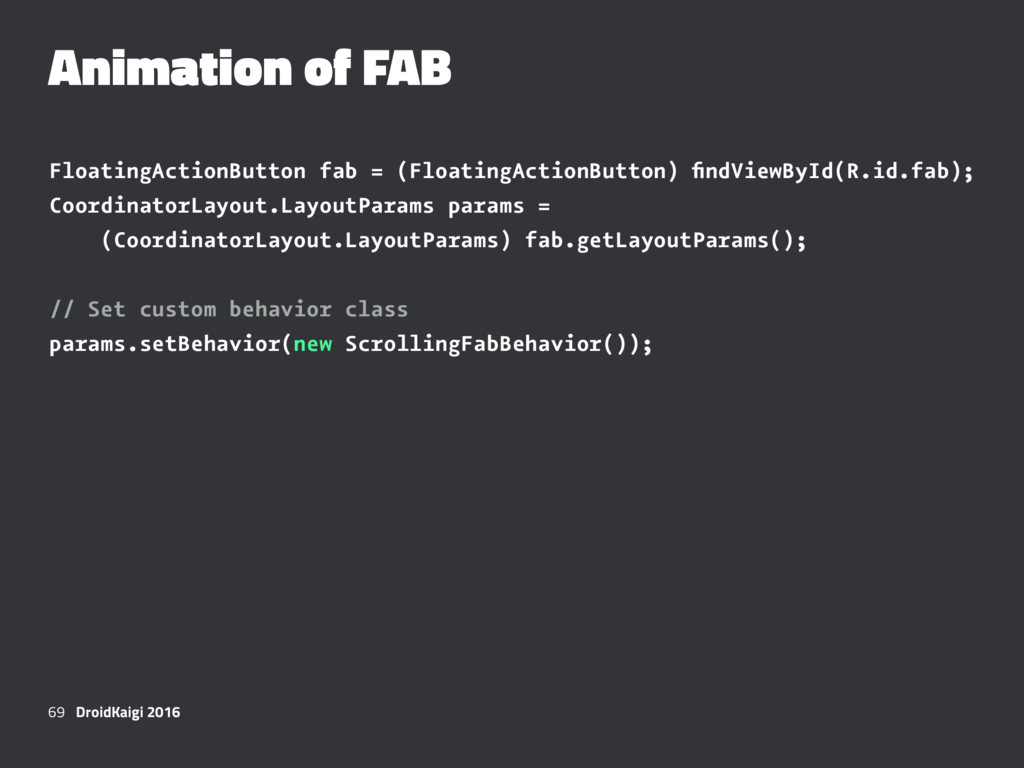 Animation of FAB FloatingActionButton fab = (Fl...