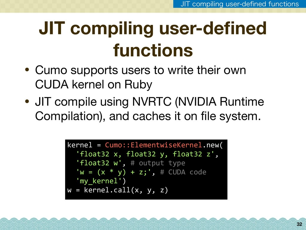 32 • Cumo supports users to write their own CUD...