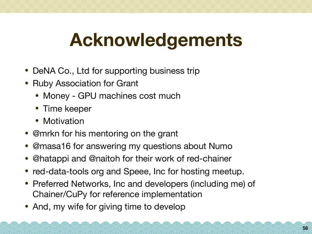 Acknowledgements • DeNA Co., Ltd for supporting...