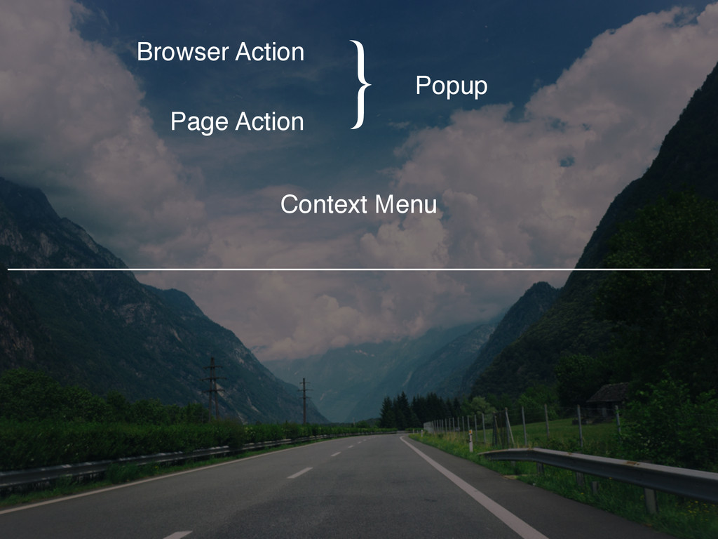 Browser Action Page Action Popup Context Menu }