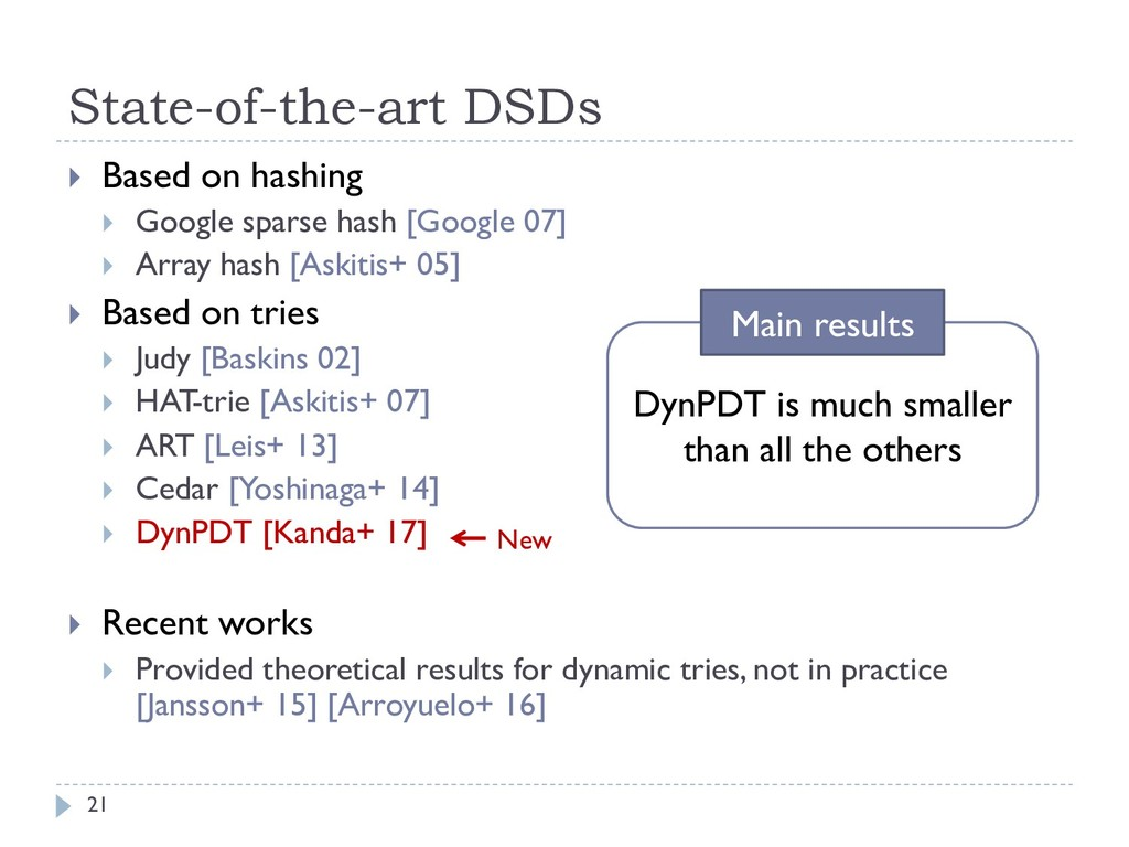 State-of-the-art DSDs 21 } Based on hashing } G...