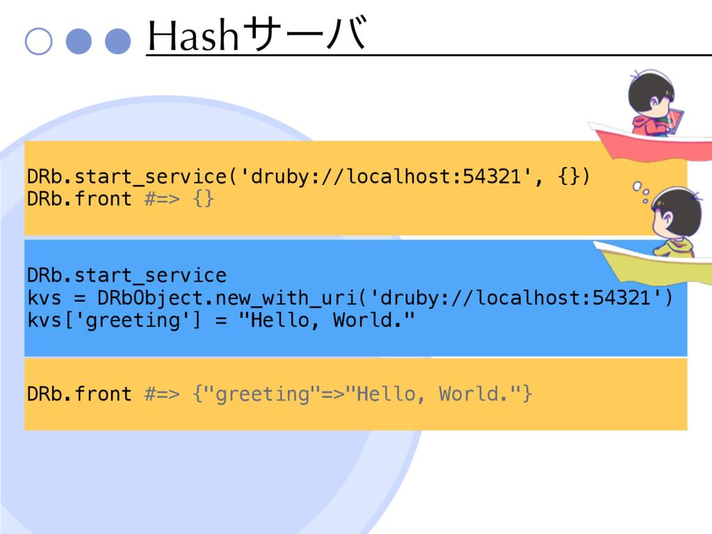Hashαʔό DRb.start_service('druby://localhost:54...