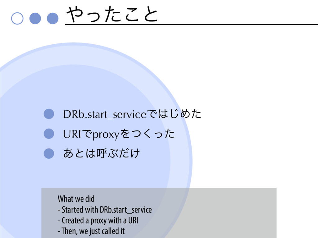 ͬͨ͜ͱ DRb.start_serviceͰ͡Ίͨ URIͰproxyΛͭͬͨ͘ ͋ͱ...