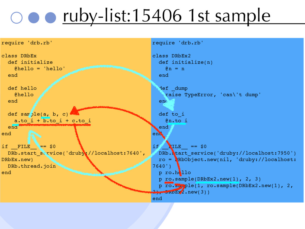 ruby-list:15406 1st sampleɹ require 'drb.rb' cl...
