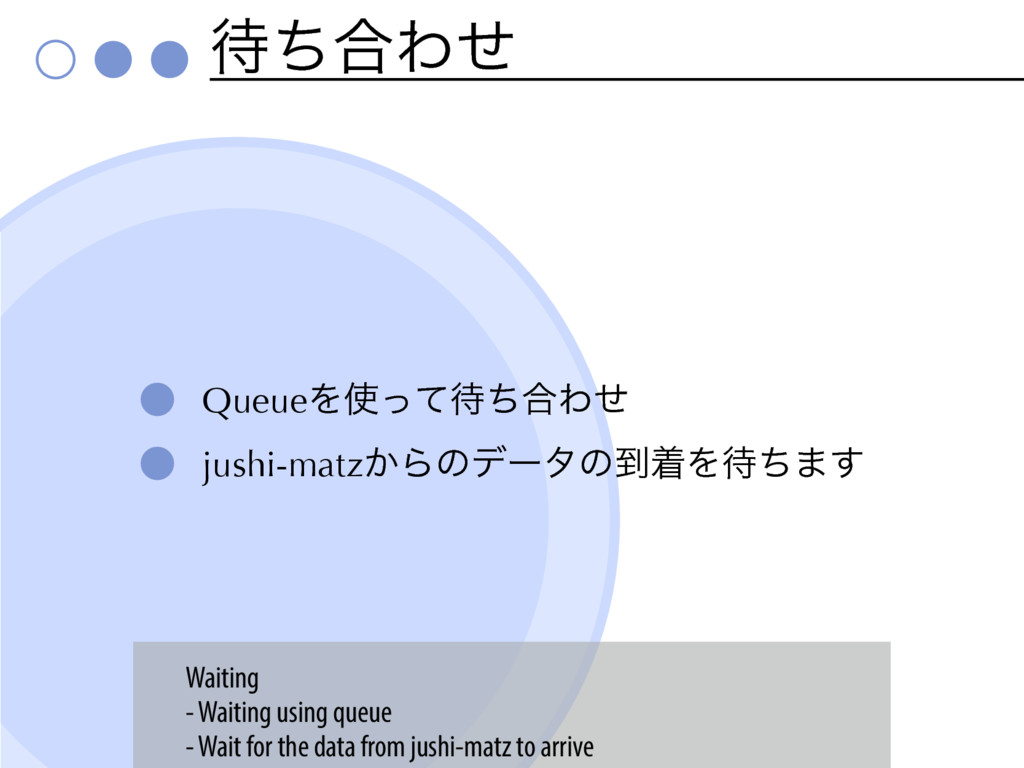 ͪ߹Θͤ QueueΛͬͯͪ߹Θͤ jushi-matz͔Βͷσʔλͷ౸ணΛͪ·͢ W...