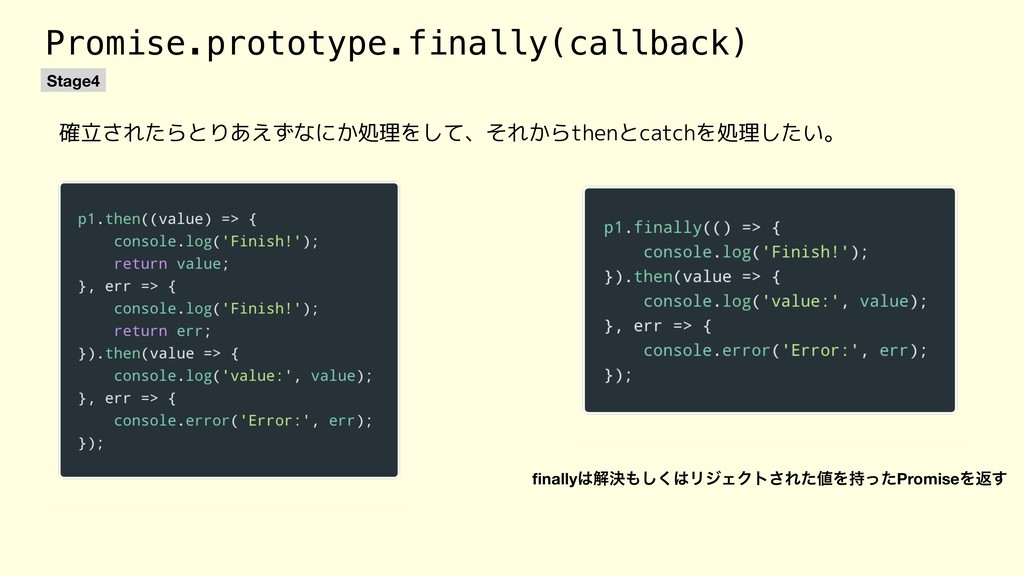 Promise.prototype.finally(callback) 確立されたらとりあえず...