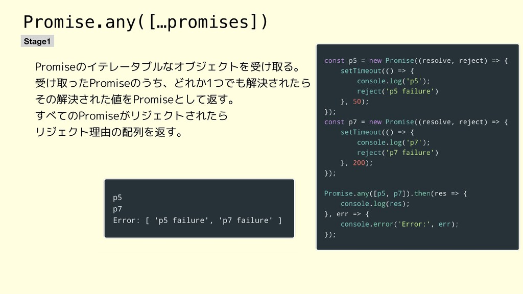 Promise.any([…promises]) Stage1 Promiseのイテレータブル...