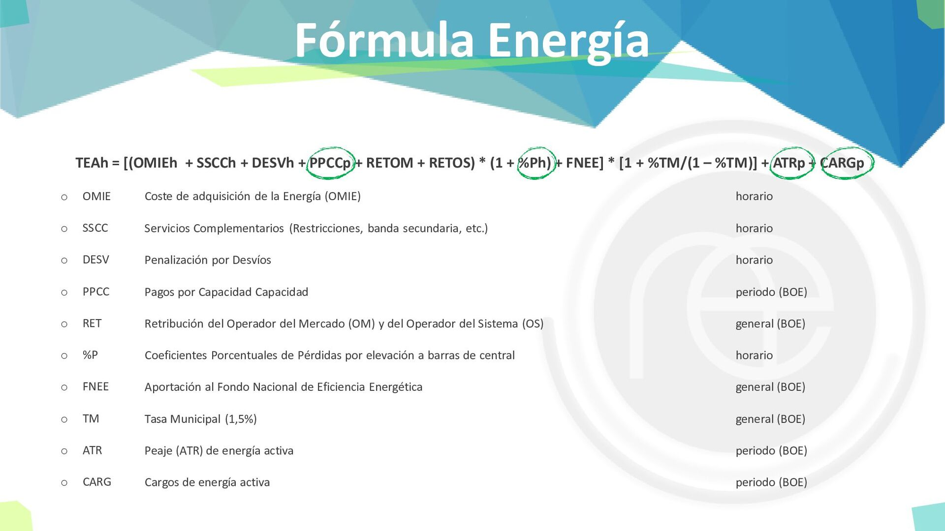 Fórmula Energía TEAh = [(OMIEh + SSCCh + DESVh ...