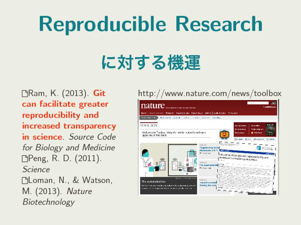 Reproducible Research ʹର͢Δػӡ Ram, K. (2013). G...