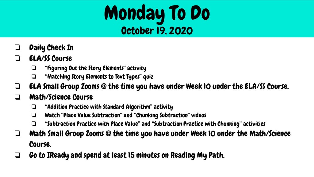 Monday To Do October 19, 2020 ❏ Daily Check In ...