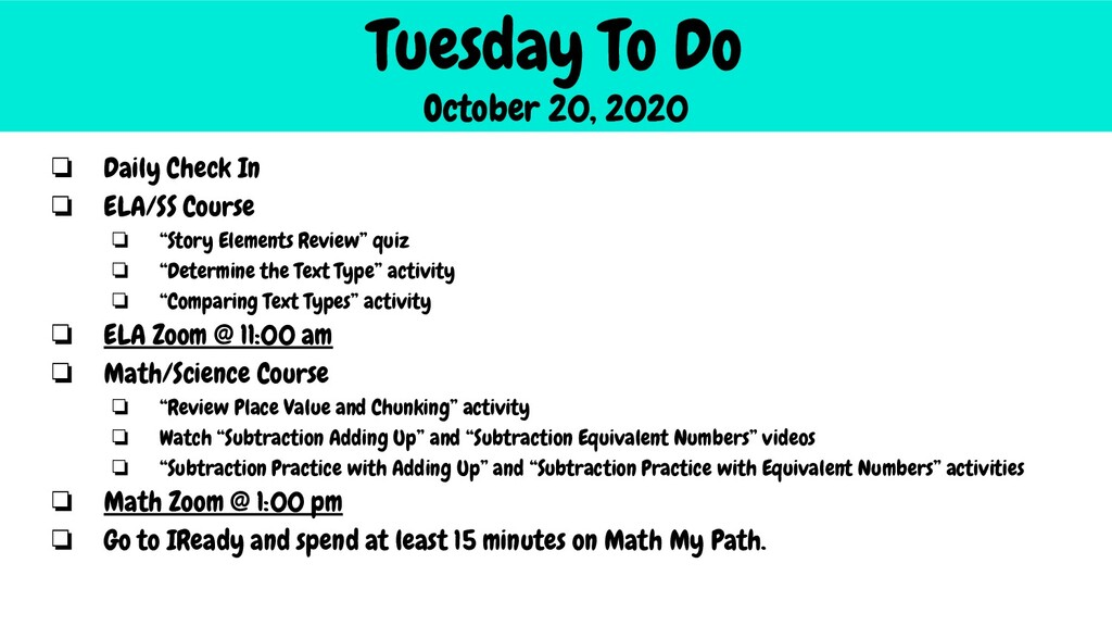 Tuesday To Do October 20, 2020 ❏ Daily Check In...