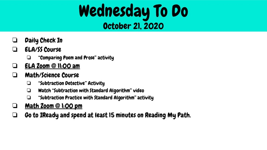 Wednesday To Do October 21, 2020 ❏ Daily Check ...