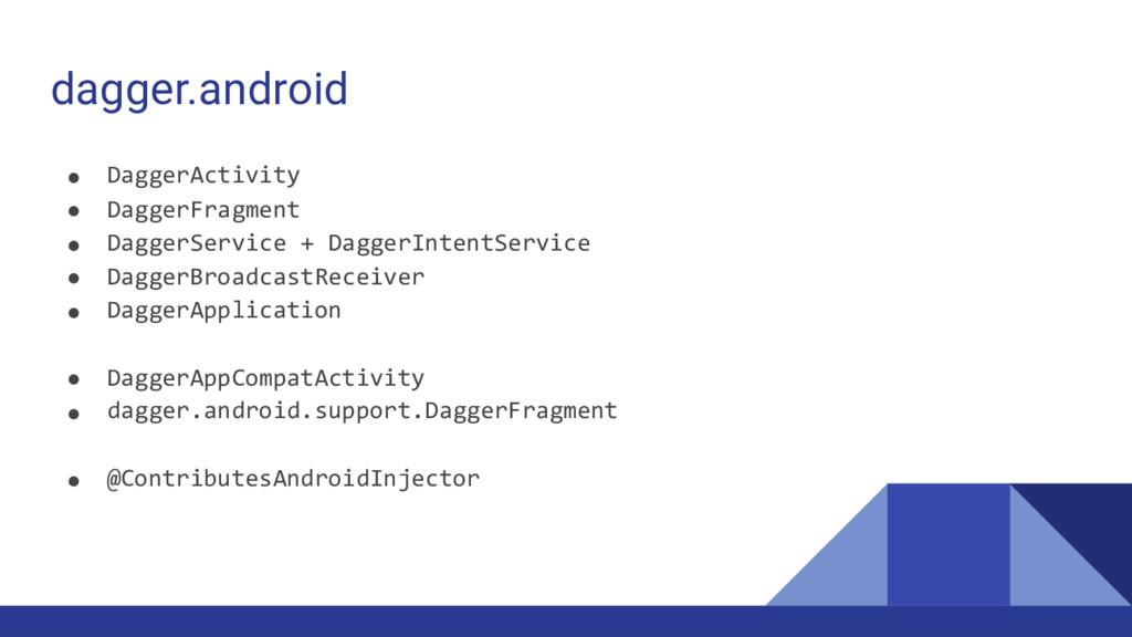 dagger.android ● DaggerActivity ● DaggerFragmen...