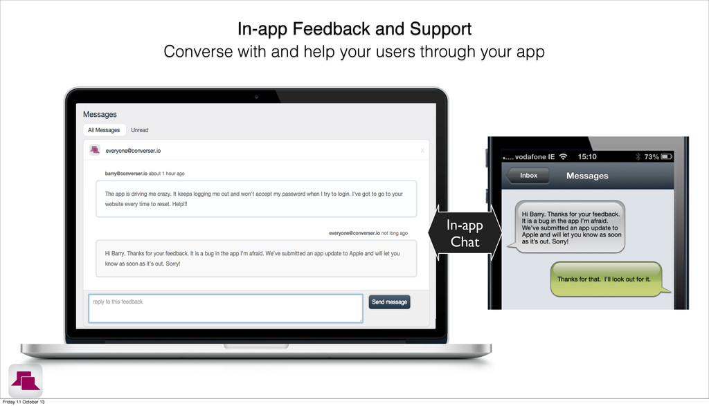 In-app Feedback and Support Converse with and h...