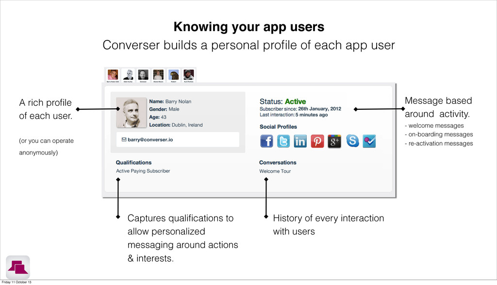Knowing your app users Converser builds a perso...
