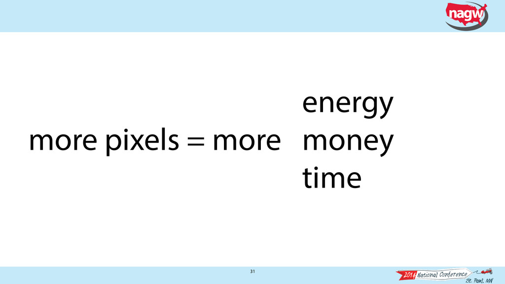 31 energy more pixels = more money time