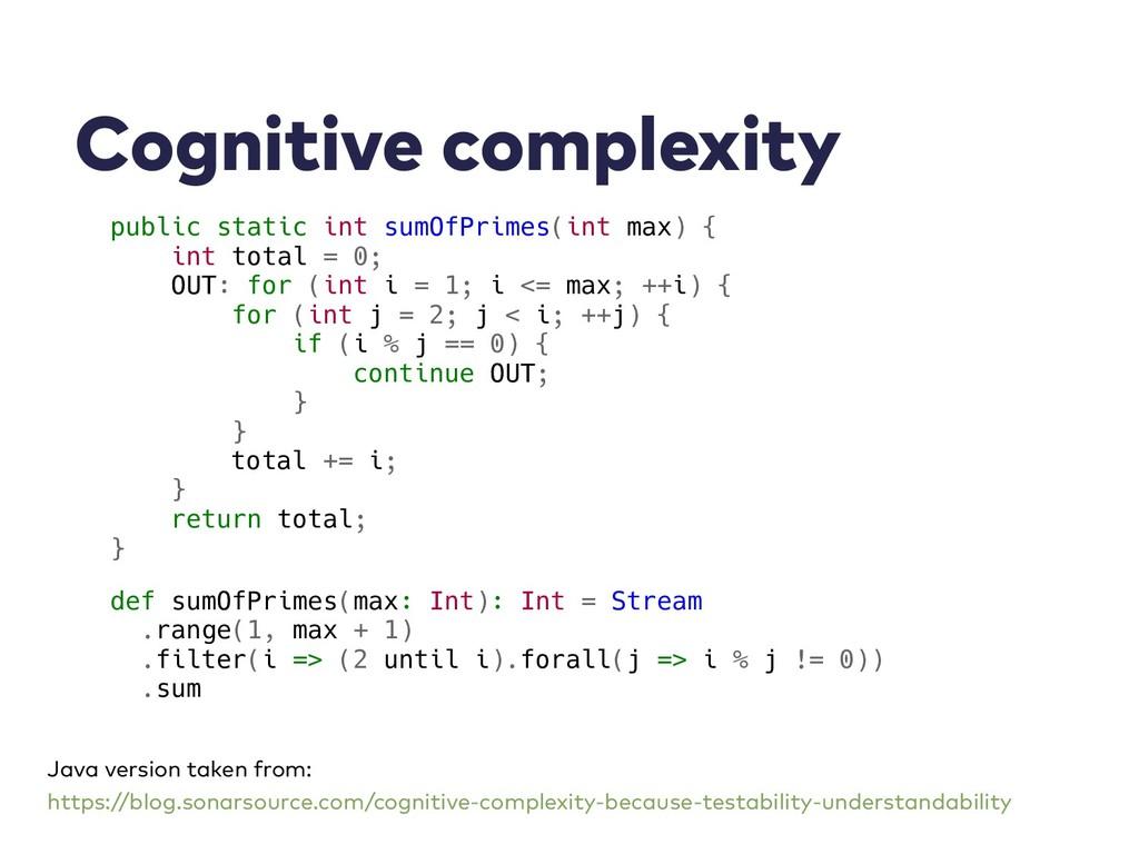Cognitive complexity public static int sumOfPri...