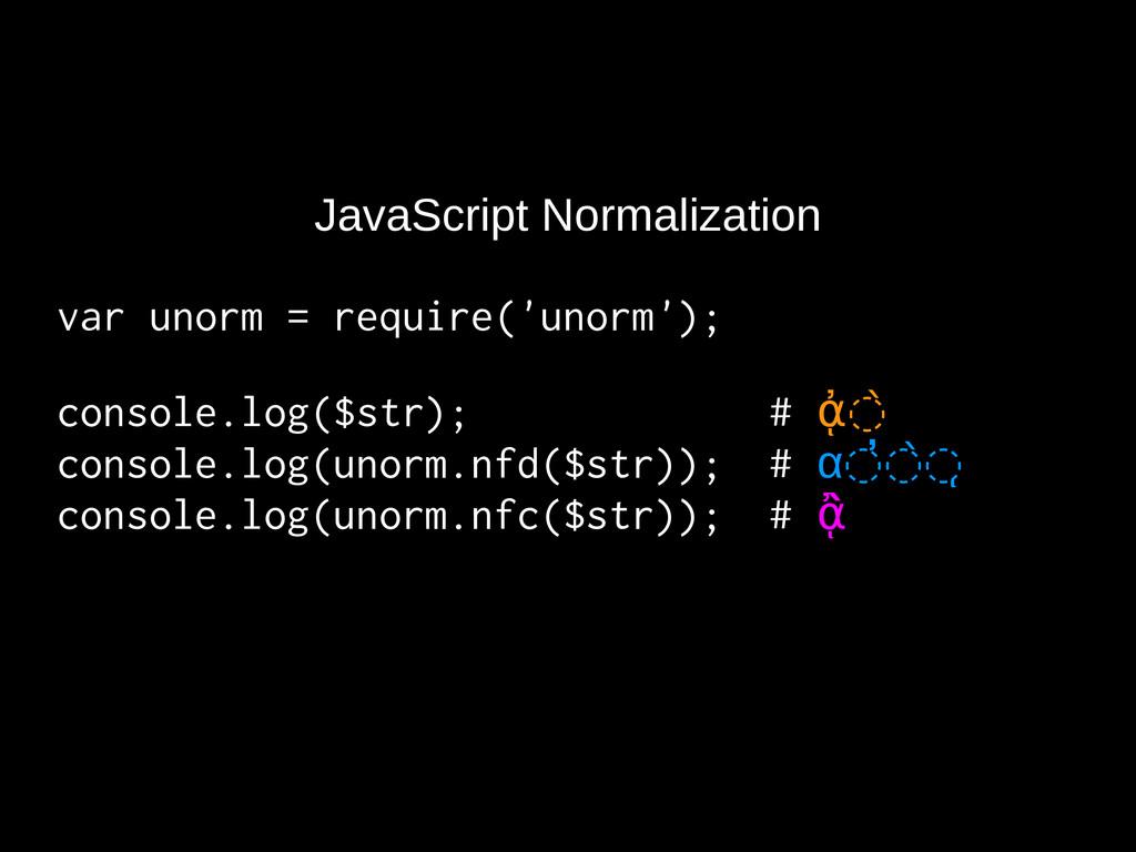 JavaScript Normalization var unorm = require('u...