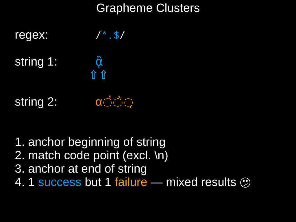 Grapheme Clusters regex: /^.$/ string 1: ᾂ ⇧⇧ s...