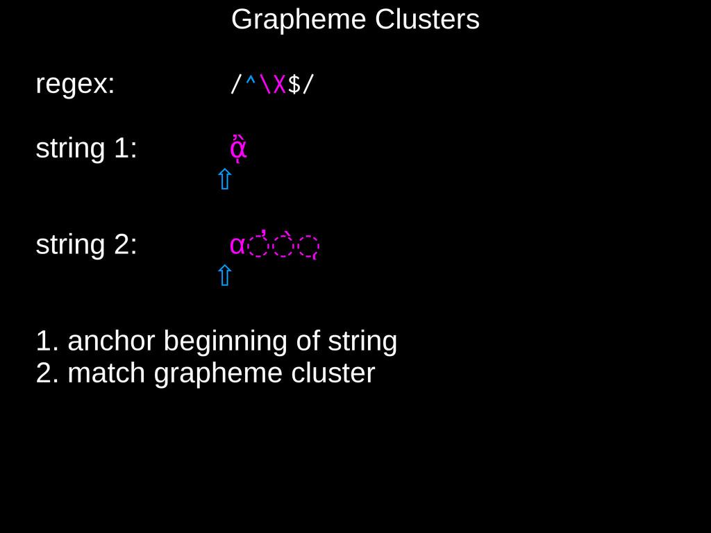 Grapheme Clusters regex: /^\X$/ string 1: ᾂ ⇧ s...
