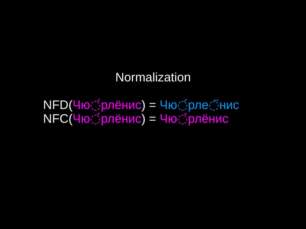Normalization NFD(Чю рлёнис ◌́ ) = Чю рле нис ◌...